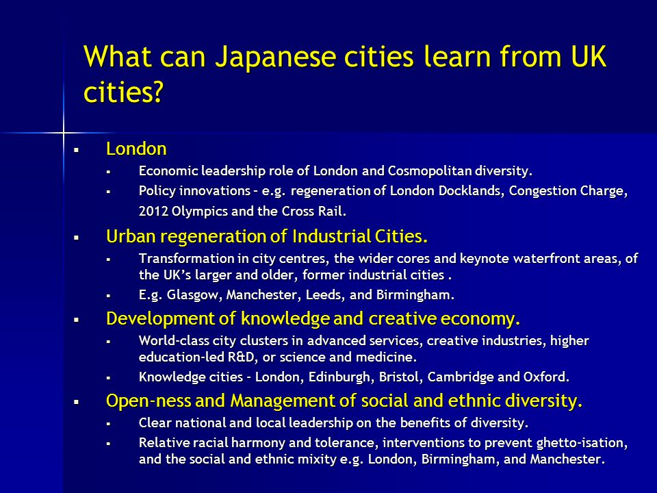 What can Japanese cities learn from UK cities.