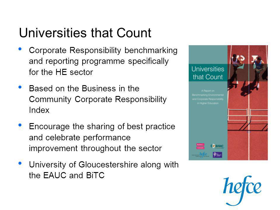 Corporate Responsibility benchmarking and reporting programme specifically for the HE sector Based on the Business in the Community Corporate Responsibility Index Encourage the sharing of best practice and celebrate performance improvement throughout the sector University of Gloucestershire along with the EAUC and BiTC Universities that Count