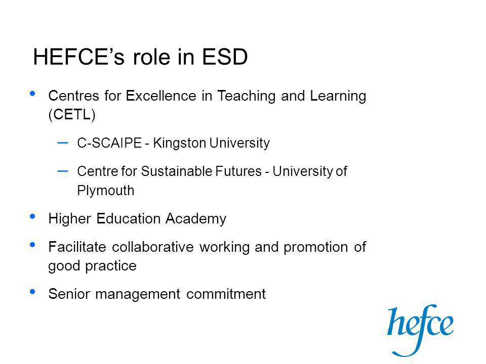 Centres for Excellence in Teaching and Learning (CETL) – C-SCAIPE - Kingston University – Centre for Sustainable Futures - University of Plymouth Higher Education Academy Facilitate collaborative working and promotion of good practice Senior management commitment HEFCE's role in ESD
