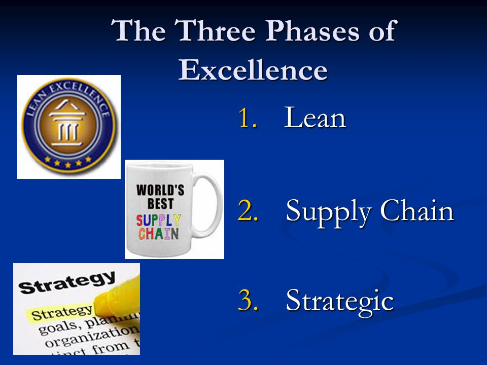 The Three Phases of Excellence 1. Lean 2. Supply Chain 3. Strategic