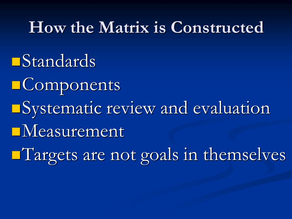 How the Matrix is Constructed Standards Standards Components Components Systematic review and evaluation Systematic review and evaluation Measurement