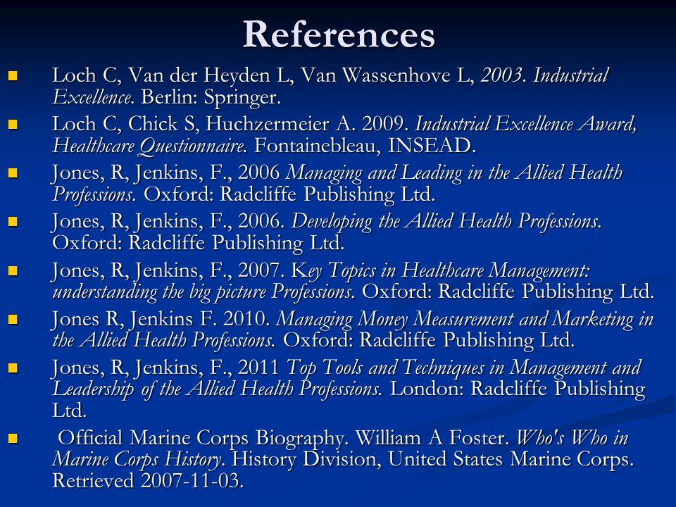 References Loch C, Van der Heyden L, Van Wassenhove L, 2003.