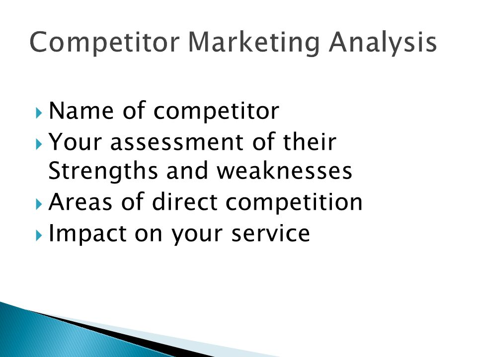 Competitor Marketing Analysis  Name of competitor  Your assessment of their Strengths and weaknesses  Areas of direct competition  Impact on your