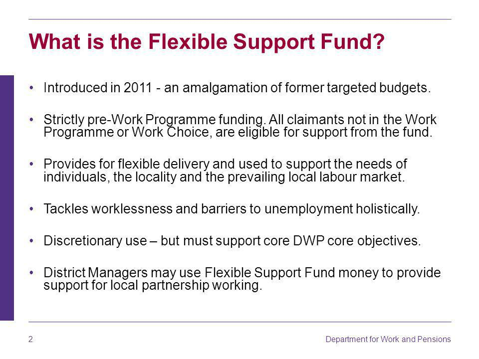Department for Work and Pensions 3 How is it used.