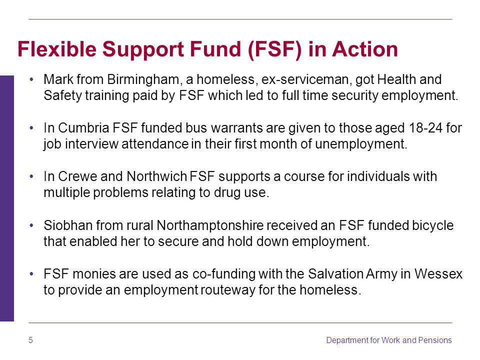 Department for Work and Pensions 6 In South East Wales FSF monies are used as co-funding with Oxfam to enable a project to get lone parent ethnic minorities in to work.