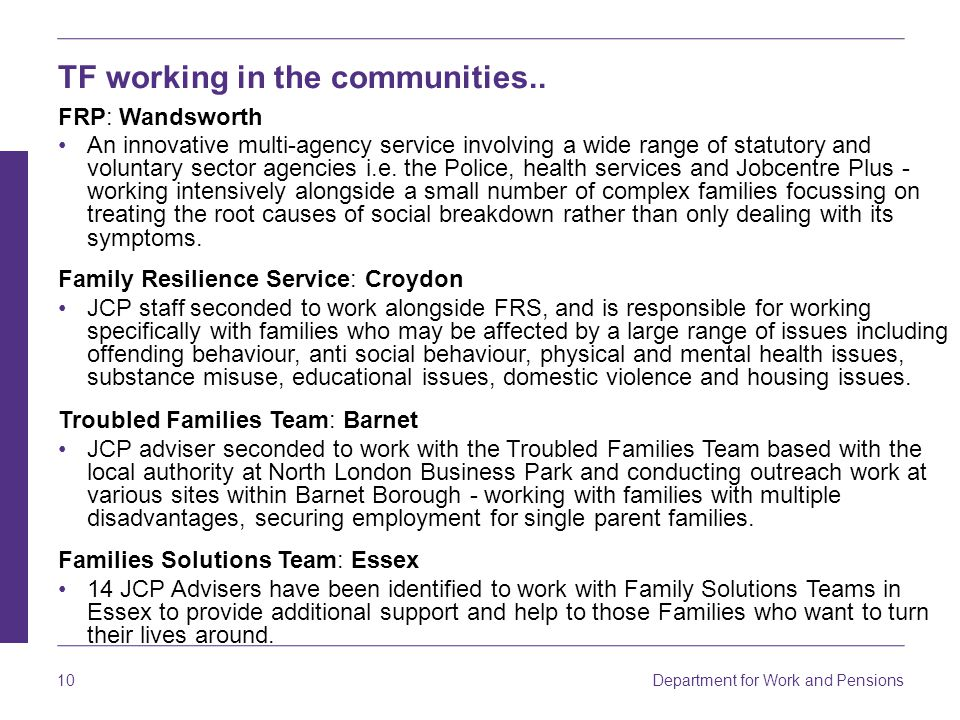 Department for Work and Pensions 10 TF working in the communities..
