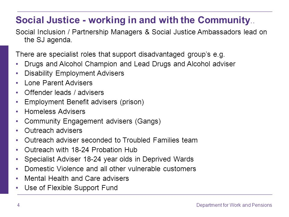 4 Social Justice - working in and with the Community..