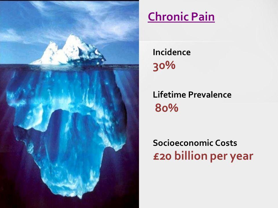 Chronic Pain Incidence 30% Lifetime Prevalence 80% Socioeconomic Costs £20 billion per year