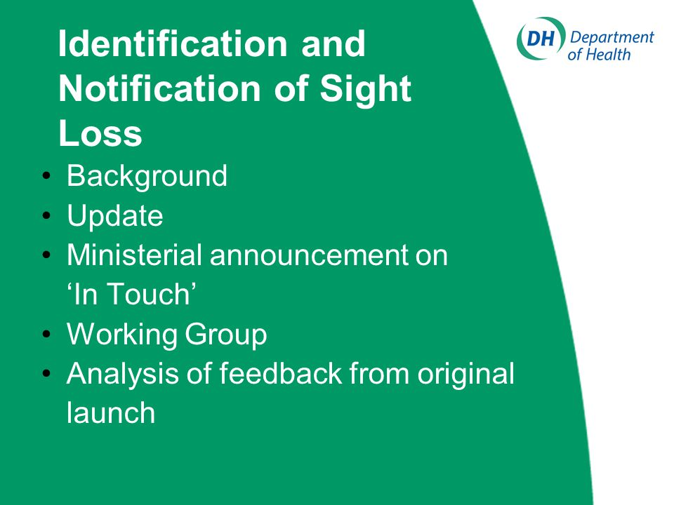 Identification and Notification of Sight Loss Jeff Bashton (Social Care Consultant)