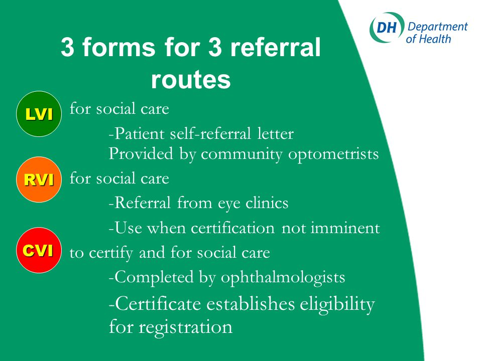 Summary of scheme 3 routes for the needs of visually impaired people to be identified and referred Separates identification of need from formal registration process New registration terminology BD8 discontinued  from 1 September 2005 Improved data collection