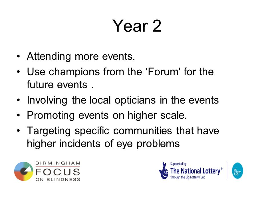 Year 2 Attending more events. Use champions from the 'Forum for the future events.