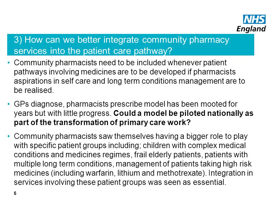6 3) How can we better integrate community pharmacy services into the patient care pathway.