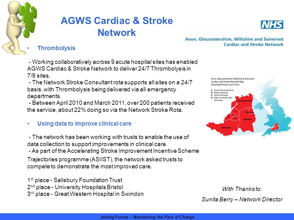 Joining Forces – Maintaining the Pace of Change With Thanks to: Sunita Berry – Network Director Thrombolysis - Working collaboratively across 9 acute hospital sites has enabled AGWS Cardiac & Stroke Network to deliver 24/7 Thrombolysis in 7/9 sites.