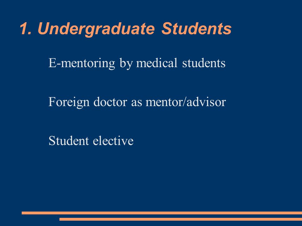 1. Undergraduate Students E-mentoring by medical students Foreign doctor as mentor/advisor Student elective