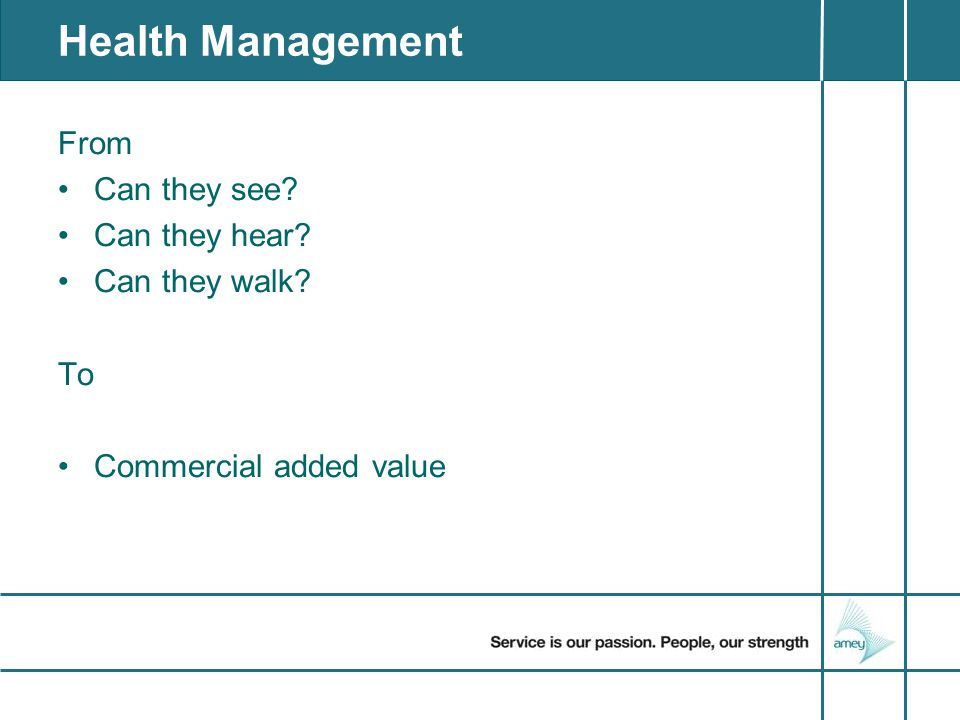 Health Management From Can they see Can they hear Can they walk To Commercial added value