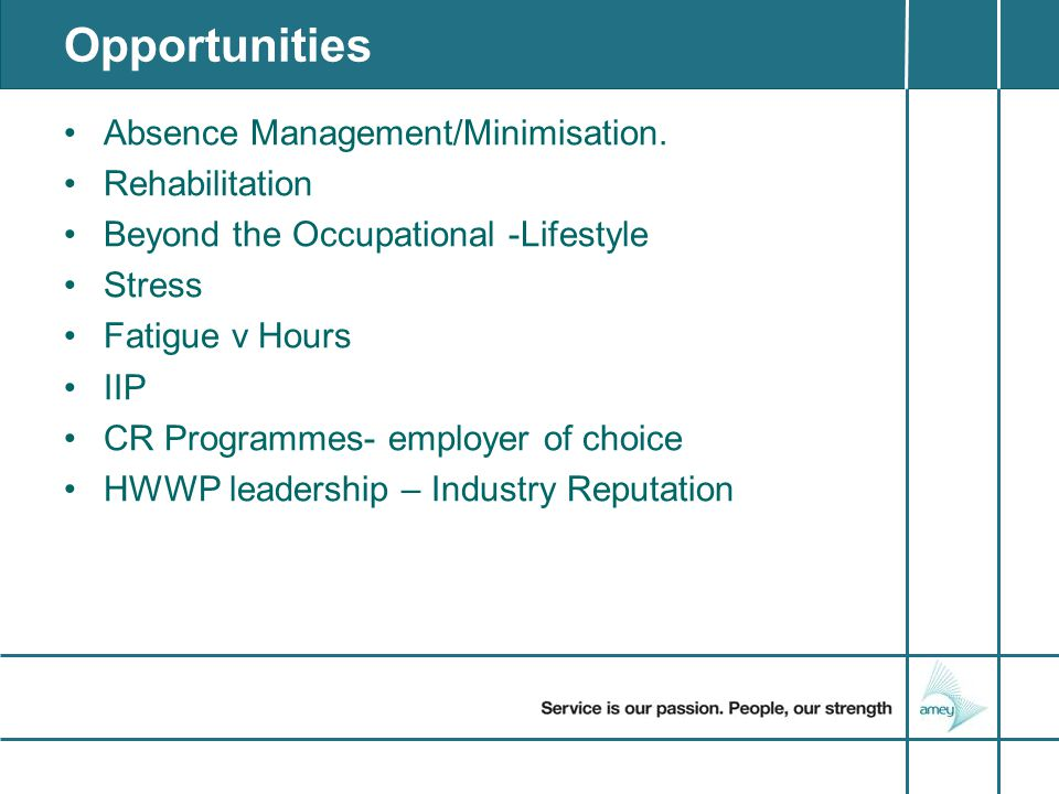 Opportunities Absence Management/Minimisation.