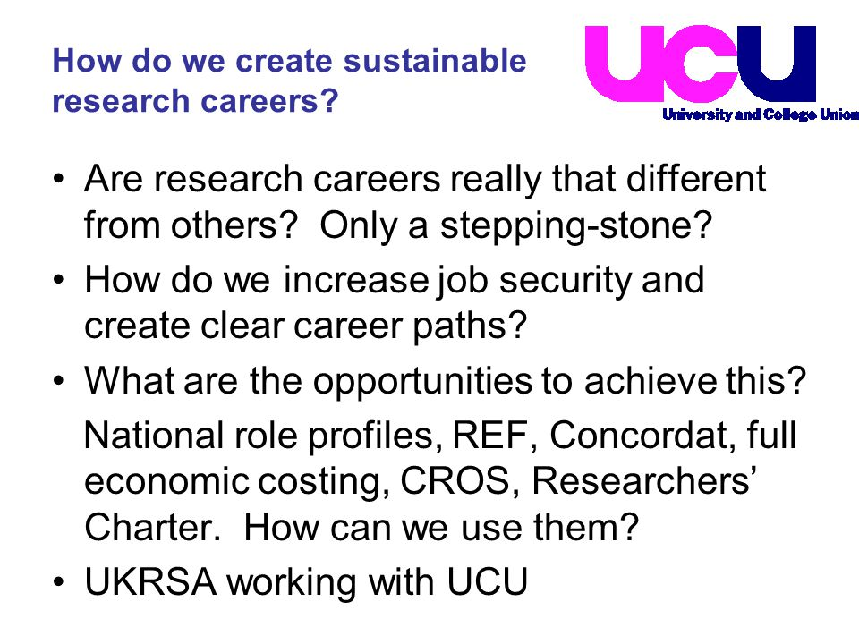 How do we create sustainable research careers.