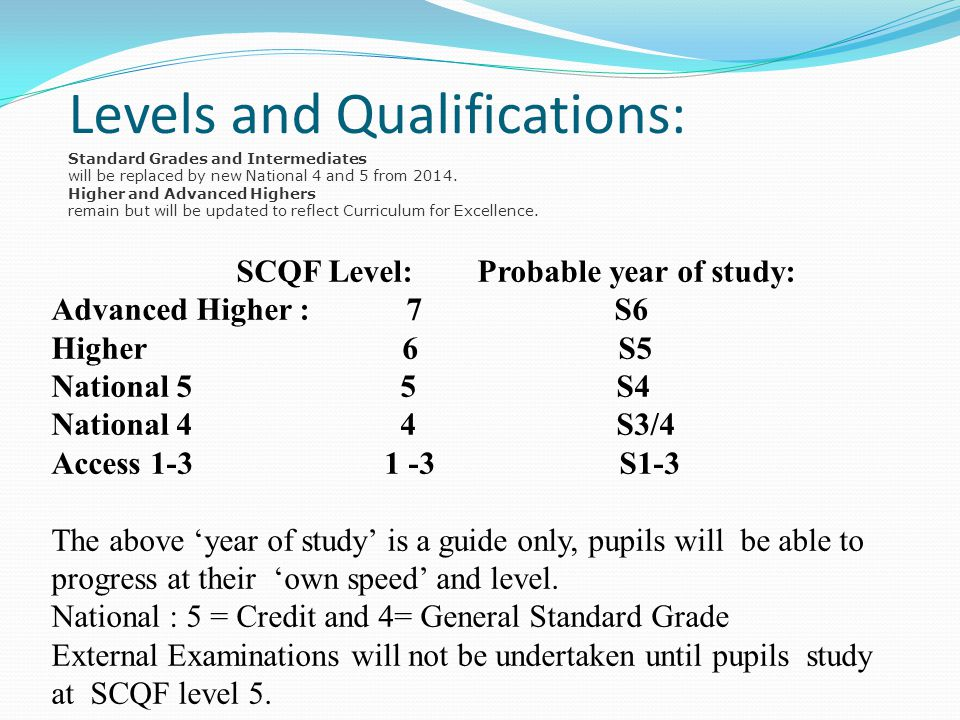 Levels and Qualifications: Standard Grades and Intermediates will be replaced by new National 4 and 5 from 2014.