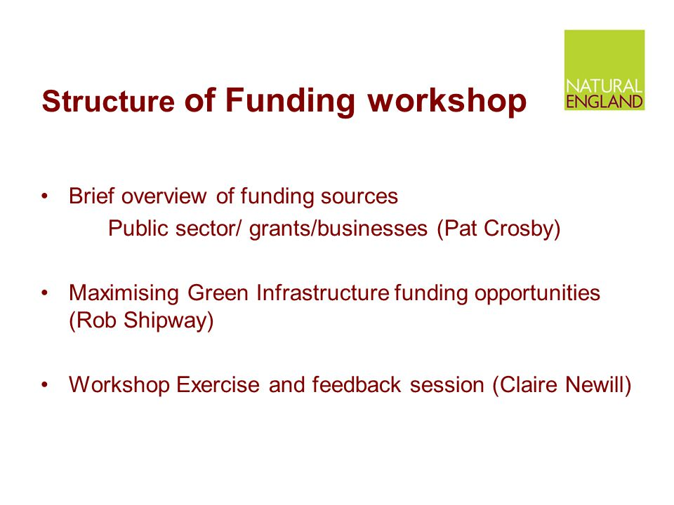Structure of Funding workshop Brief overview of funding sources Public sector/ grants/businesses (Pat Crosby) Maximising Green Infrastructure funding opportunities (Rob Shipway) Workshop Exercise and feedback session (Claire Newill)