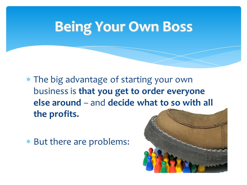 Being Your Own Boss  The big advantage of starting your own business is that you get to order everyone else around – and decide what to so with all the profits.