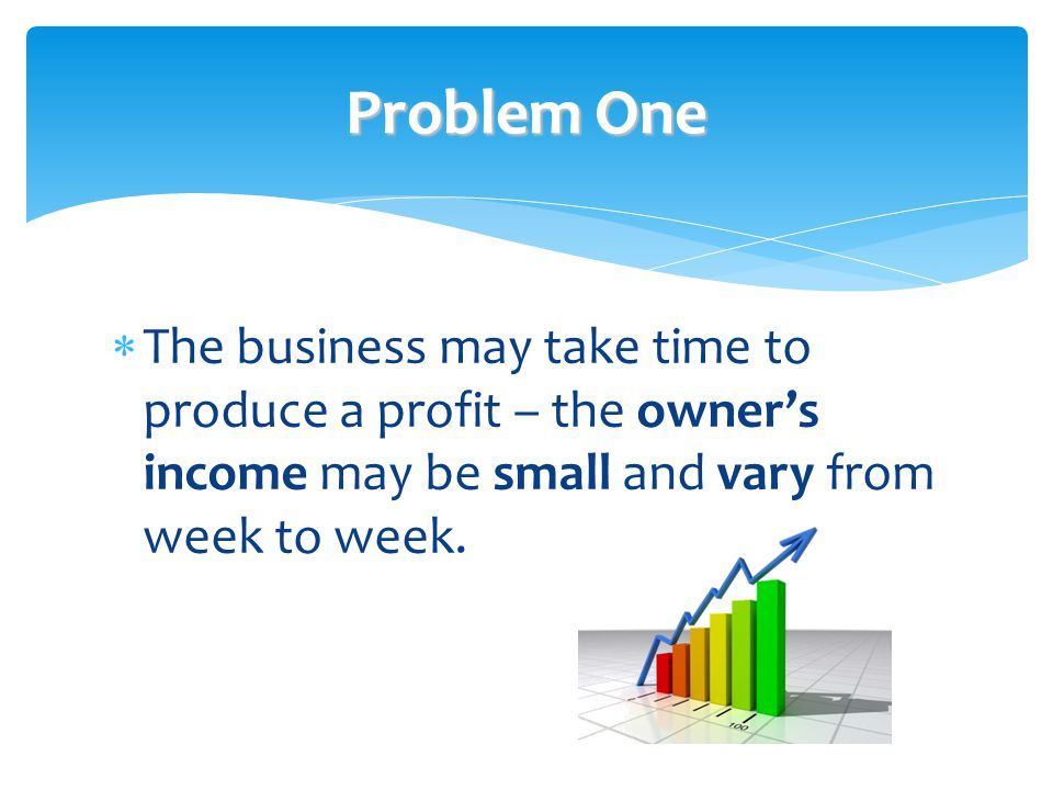 Problem One  The business may take time to produce a profit – the owner's income may be small and vary from week to week.