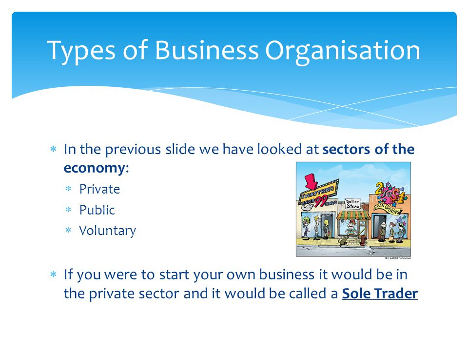  In the previous slide we have looked at sectors of the economy:  Private  Public  Voluntary  If you were to start your own business it would be in the private sector and it would be called a Sole Trader Types of Business Organisation