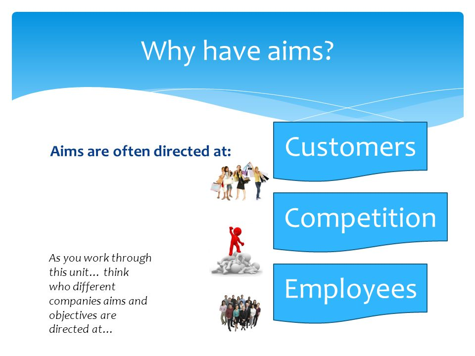 Aims are often directed at: Why have aims.