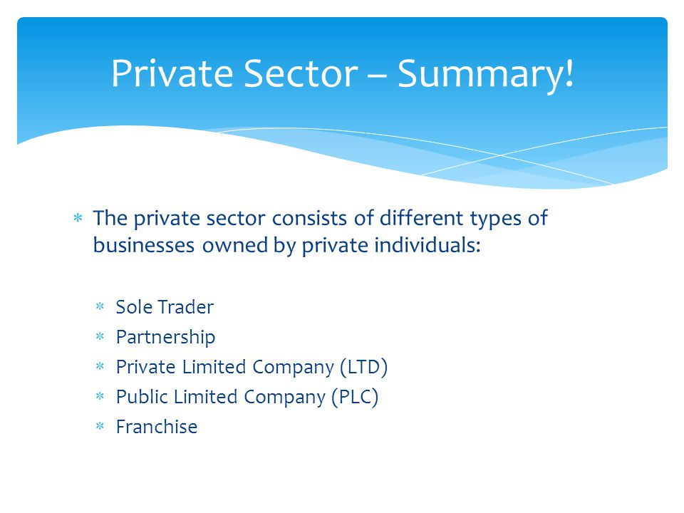  The private sector consists of different types of businesses owned by private individuals:  Sole Trader  Partnership  Private Limited Company (LTD)  Public Limited Company (PLC)  Franchise Private Sector – Summary!