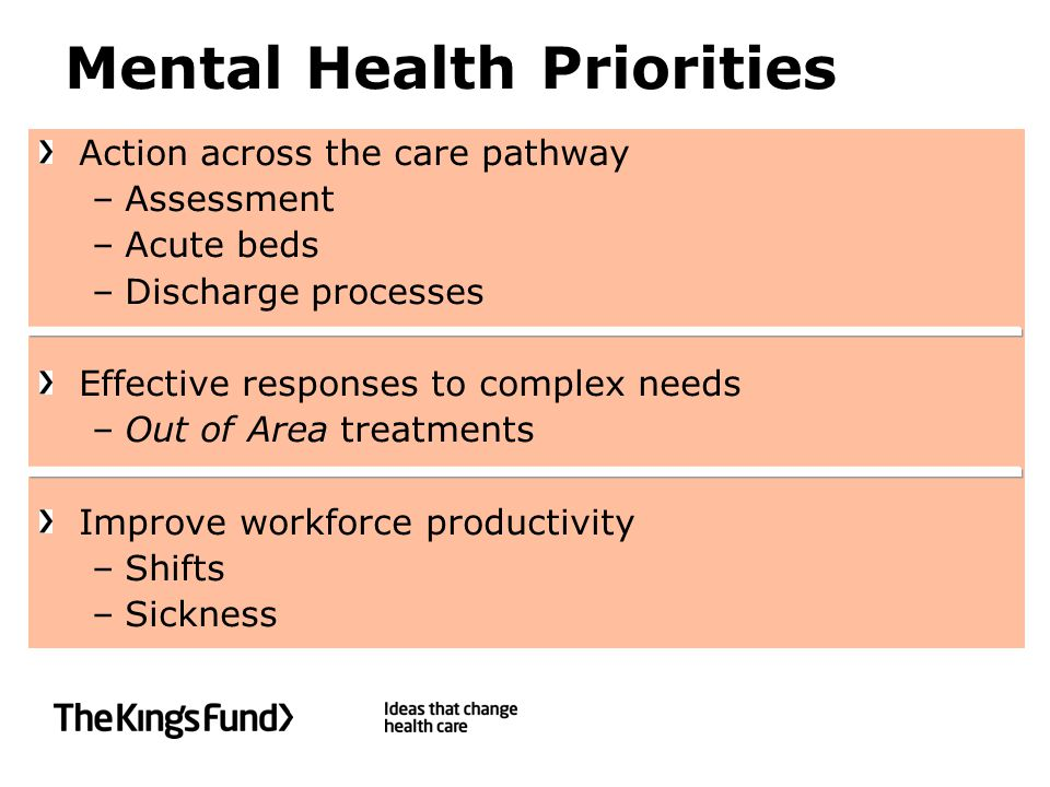 Mental Health Priorities Action across the care pathway –Assessment –Acute beds –Discharge processes Effective responses to complex needs –Out of Area treatments Improve workforce productivity –Shifts –Sickness