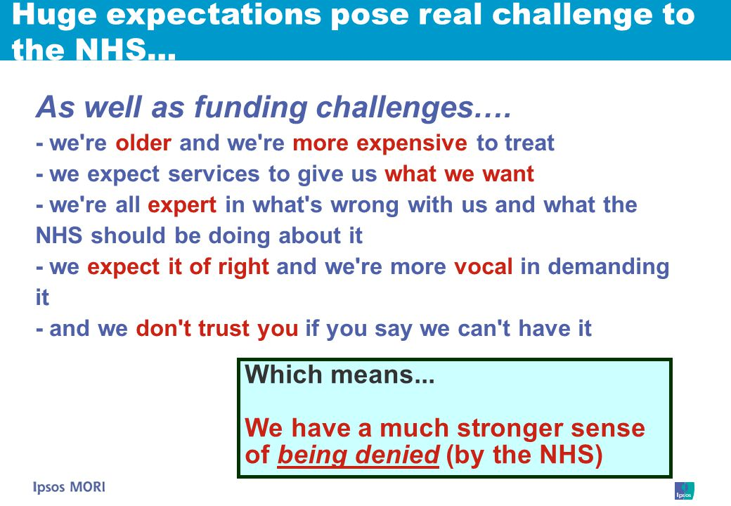 As well as funding challenges….