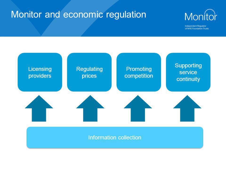 Monitor and economic regulation Licensing providers Regulating prices Promoting competition Supporting service continuity Information collection