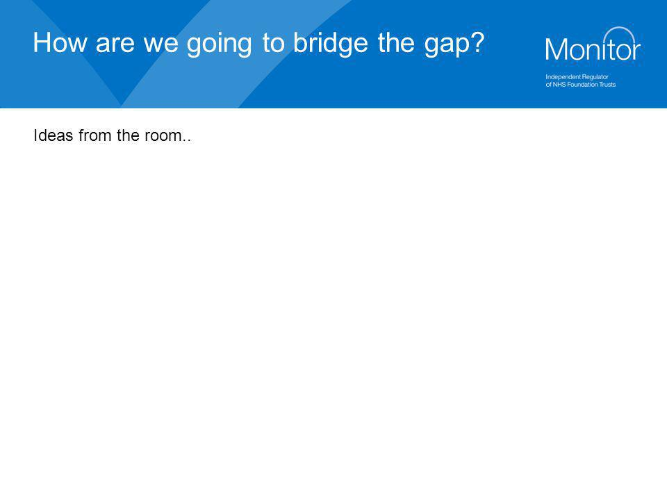 How are we going to bridge the gap? Ideas from the room..