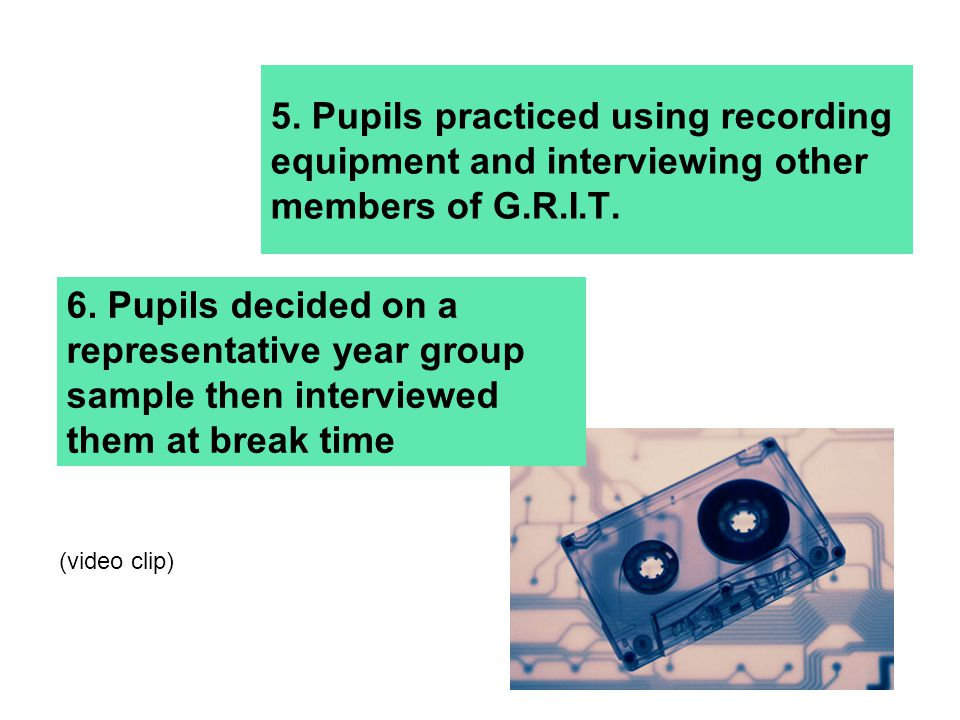 5. Pupils practiced using recording equipment and interviewing other members of G.R.I.T.