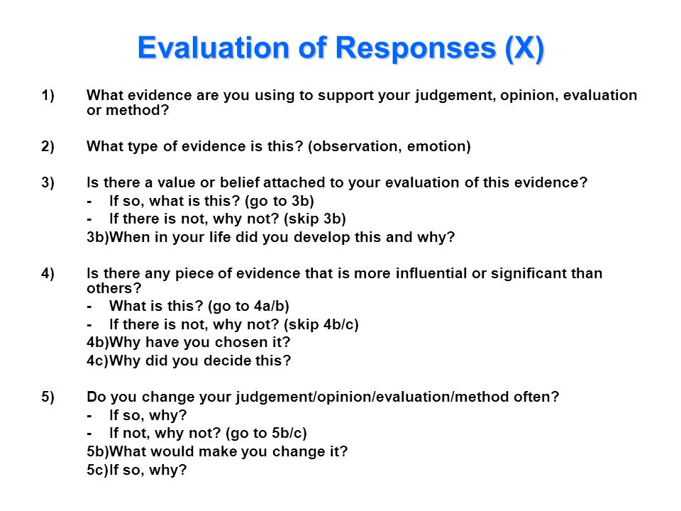 Evaluation of Responses (X) 1)What evidence are you using to support your judgement, opinion, evaluation or method? 2)What type of evidence is this? (