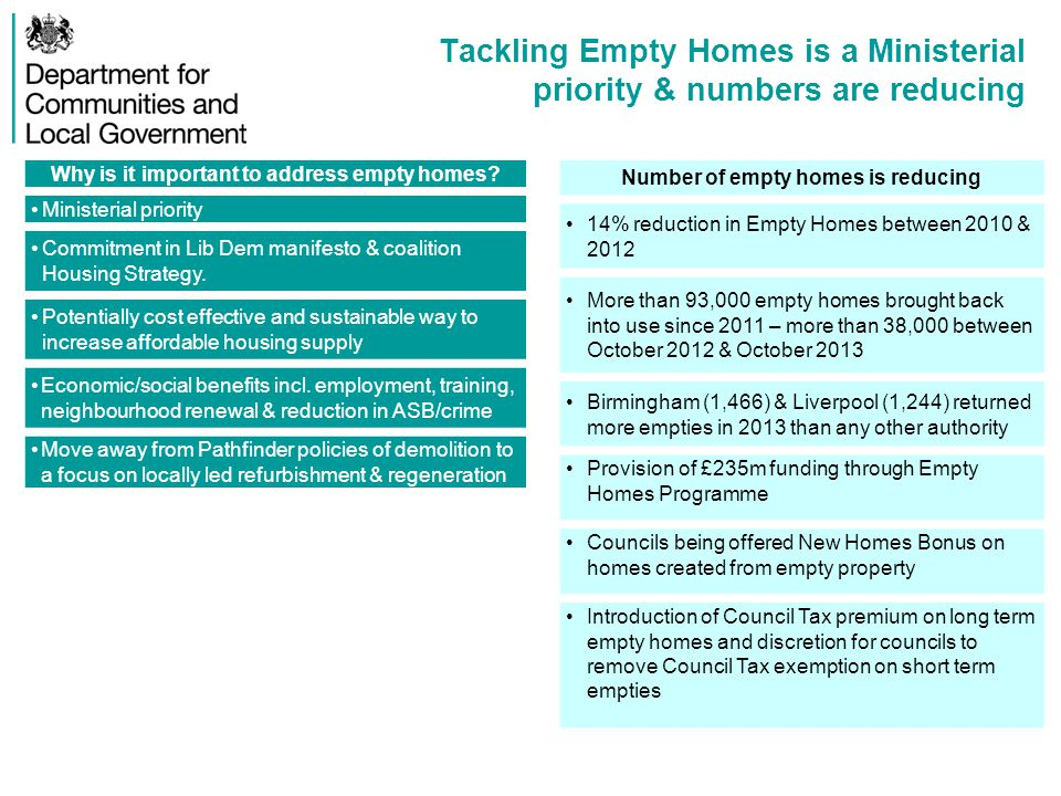 Annex C – Flexibility Case Study AGMA Background AGMA were awarded £3.6m for their Empty Homes Within Greater Manchester boundaries there were an estimated 13,500 long term empty homes This equates to circa 31% of the council housing waiting list AGMA's target was to bring 343 empty homes back into use through the programme By Sept 2013, 138 had been brought back into use Programme Flexibility - Reinvesting funds Used flexibility to reinvest money made from empty homes A particular property cost £40k to bringing back into use was later sold for £60k The original £40k investment and the £20k profit was then put into another property, creating a recyclable scheme Programme Flexibility - Clusters Found only four areas across Manchester eligible for cluster funding In Openshaw there were enough empty homes to count as a cluster but they were not located sufficiently close to qualify AGMA used other stands of EH funding to redevelop housing and delivered broader regeneration in the area This is encouraging other property owners to make improvements to their homes 13