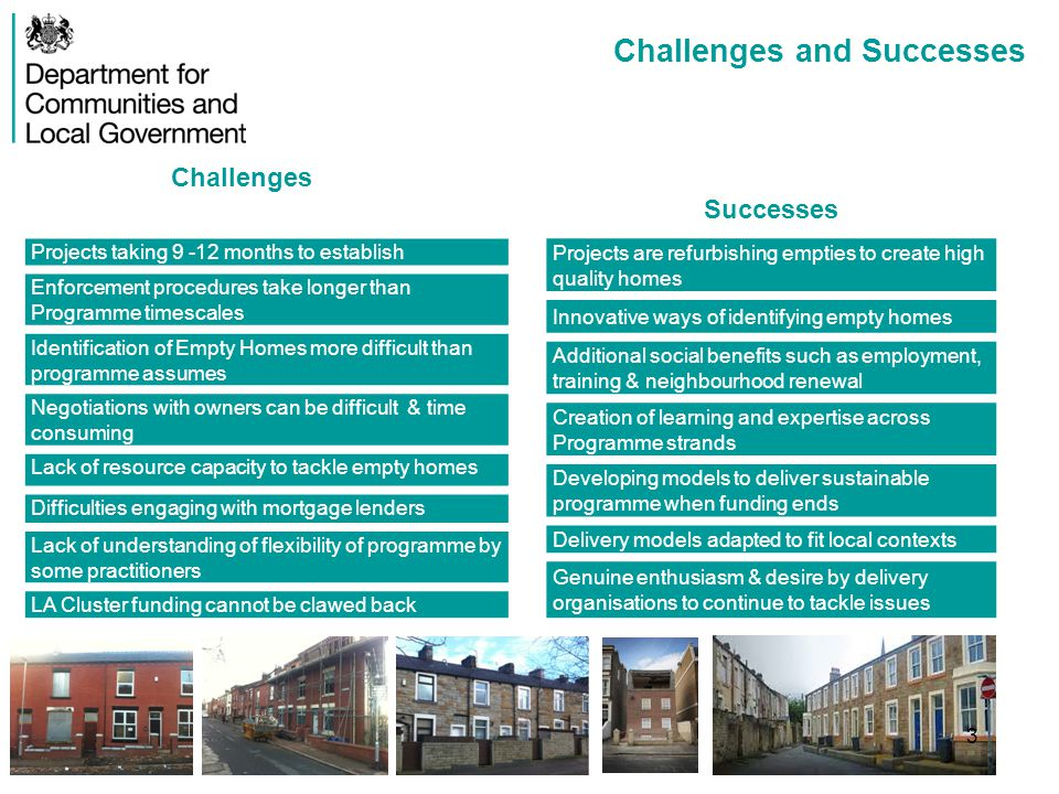 Annex D – Flexibility Case Study Pennine Lancashire Background Pennine Lancashire were awarded £9.5m for their Empty Homes programme Within the Pennine Lancashire area there were 5,912 long term empty homes This equates to 49% of the council housing waiting list Target of 457 long term empty homes brought back in to use By September 2013, 71 empty homes had been brought back in to use Programme Flexibility - Affordable Housing With more programme flexibility, felt they could achieve better results Greater flex on affordable housing would increase eligibility and help target more properties Affordable housing supply is not an issue in many Pennine Lancashire areas – they want to attract more private tenants and owners to restored properties Supply of Affordable Homes is strong enough that a narrower focus risks displacement Programme Flexibility- Demolition Would like to undertake selective demolition Some empty properties were so structurally damaged that it was costing more to redevelop them than it would be to demolish them and build again Demolition on previous HMR programme was not widespread but generally worked well Demolition proposed in very limited circumstances and on a handful of homes e.g.
