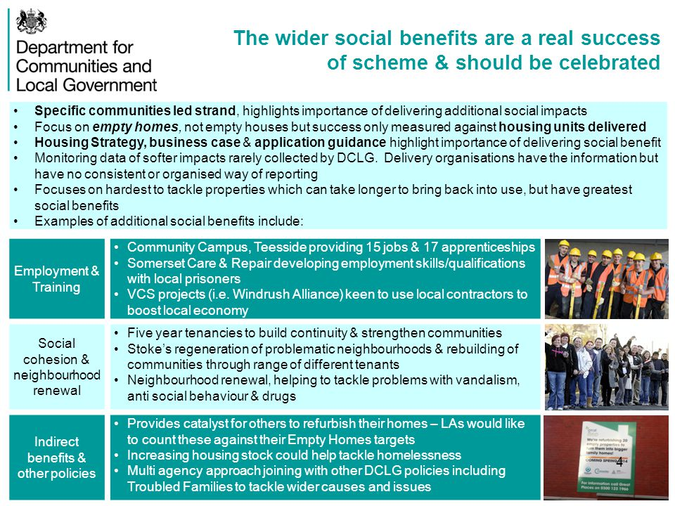 Measuring social impact is hard, but it can be done Ways to measure softer outcomes Measuring proxy data on employment, crime, property prices & planning applications can illustrate indirect impacts of policy Other sources incl.