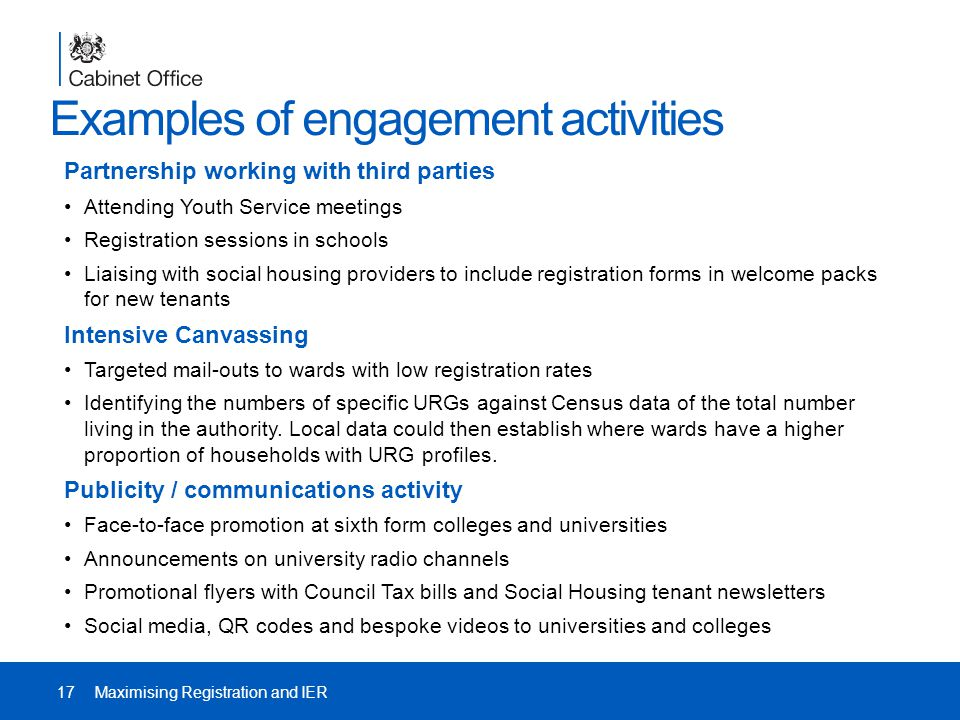 Examples of engagement activities Partnership working with third parties Attending Youth Service meetings Registration sessions in schools Liaising with social housing providers to include registration forms in welcome packs for new tenants Intensive Canvassing Targeted mail-outs to wards with low registration rates Identifying the numbers of specific URGs against Census data of the total number living in the authority.