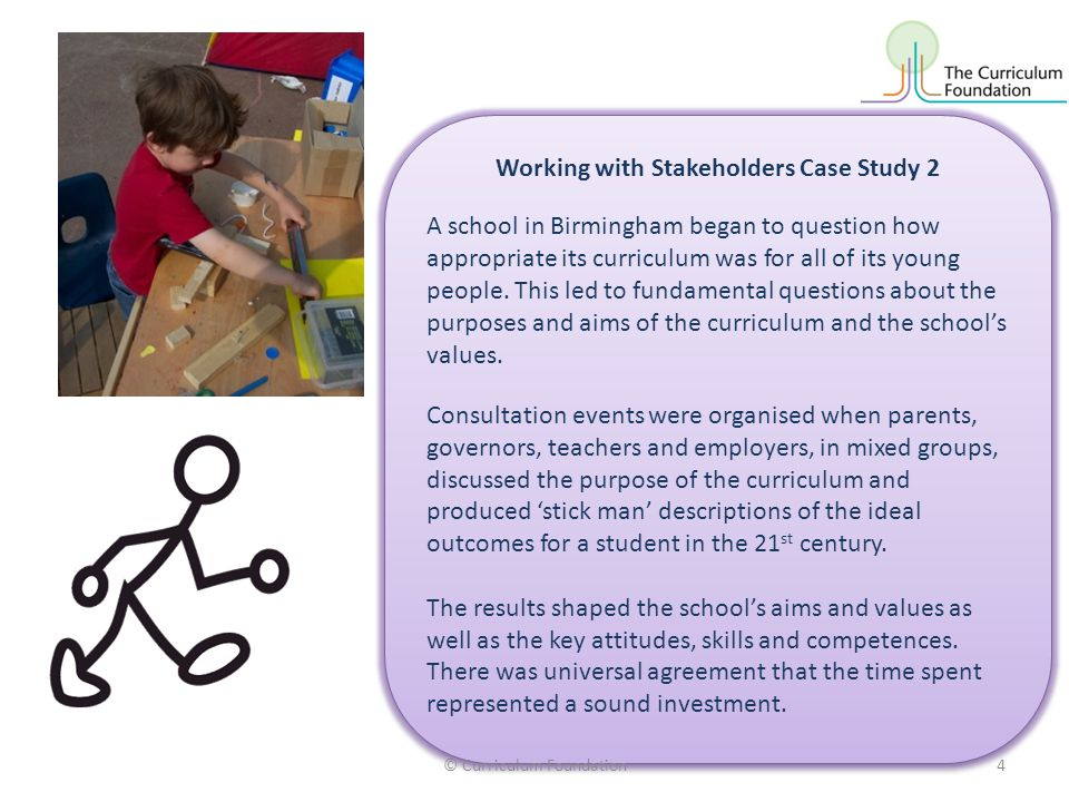 Working with Stakeholders Case Study 2 A school in Birmingham began to question how appropriate its curriculum was for all of its young people. This l