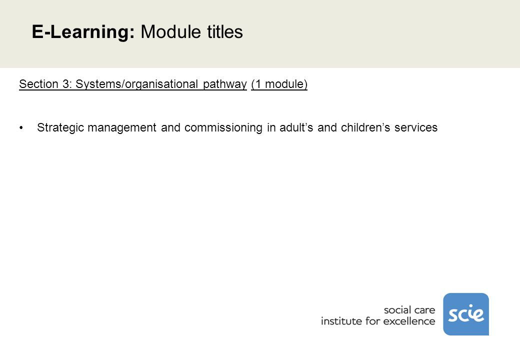Section 3: Systems/organisational pathway (1 module) Strategic management and commissioning in adult's and children's services E-Learning: Module titles