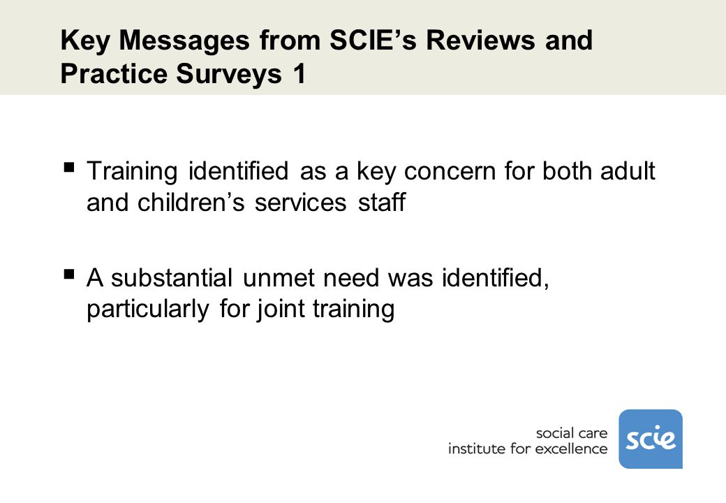 Key Messages from SCIE's Reviews and Practice Surveys 1  Training identified as a key concern for both adult and children's services staff  A substantial unmet need was identified, particularly for joint training
