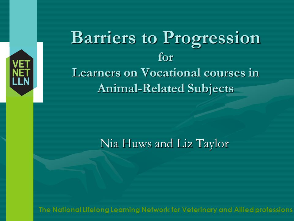 The National Lifelong Learning Network for Veterinary and Allied professions Vetnet LLN National Lifelong Learning NetworkNational Lifelong Learning Network Primary aim to enhance progression opportunities for vocational learners in animal- related educationPrimary aim to enhance progression opportunities for vocational learners in animal- related education Main focus: transition from level 3 to 4Main focus: transition from level 3 to 4 www.vetnetlln.ac.uk www.vetnetlln.ac.uk www.vetnetlln.ac.uk