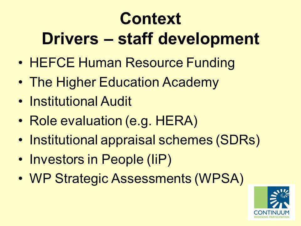 Context Drivers – staff development HEFCE Human Resource Funding The Higher Education Academy Institutional Audit Role evaluation (e.g.