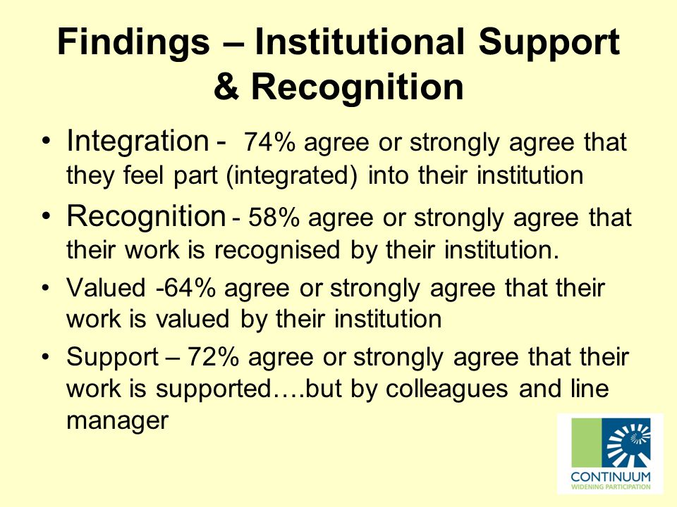 Findings – Institutional Support & Recognition Integration - 74% agree or strongly agree that they feel part (integrated) into their institution Recognition - 58% agree or strongly agree that their work is recognised by their institution.