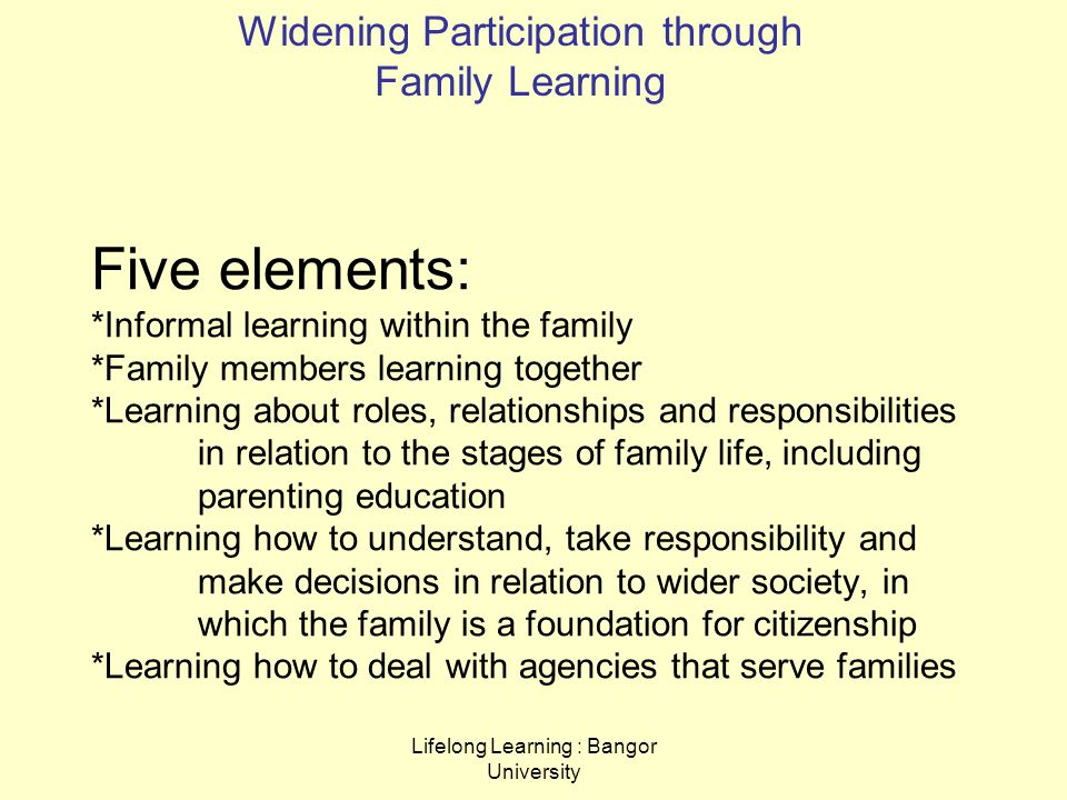Lifelong Learning : Bangor University Five elements: *Informal learning within the family *Family members learning together *Learning about roles, relationships and responsibilities in relation to the stages of family life, including parenting education *Learning how to understand, take responsibility and make decisions in relation to wider society, in which the family is a foundation for citizenship *Learning how to deal with agencies that serve families Widening Participation through Family Learning