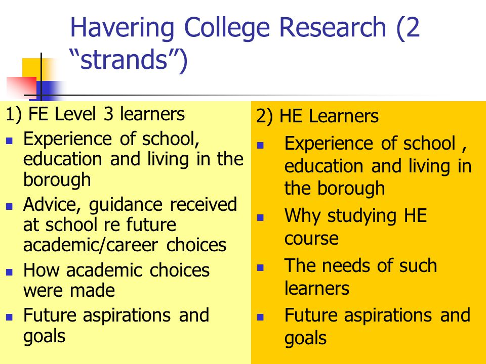 Havering College Research (2 strands ) 1) FE Level 3 learners Experience of school, education and living in the borough Advice, guidance received at school re future academic/career choices How academic choices were made Future aspirations and goals 2) HE Learners Experience of school, education and living in the borough Why studying HE course The needs of such learners Future aspirations and goals