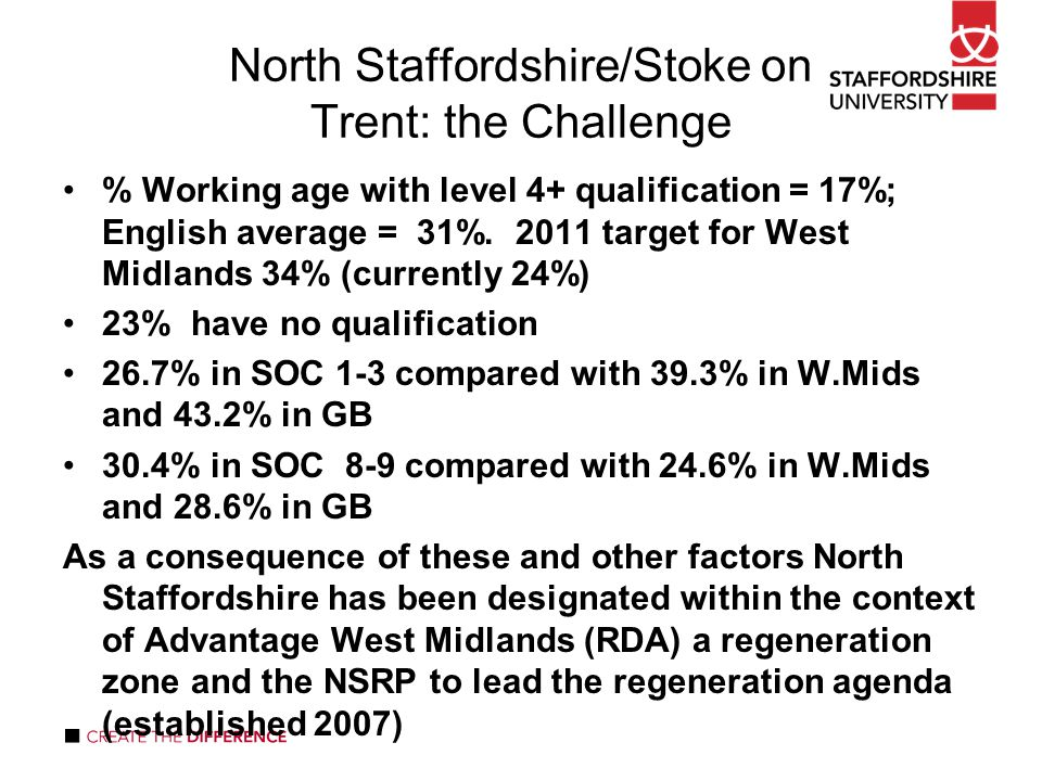 North Staffordshire/Stoke on Trent: the Challenge % Working age with level 4+ qualification = 17%; English average = 31%.