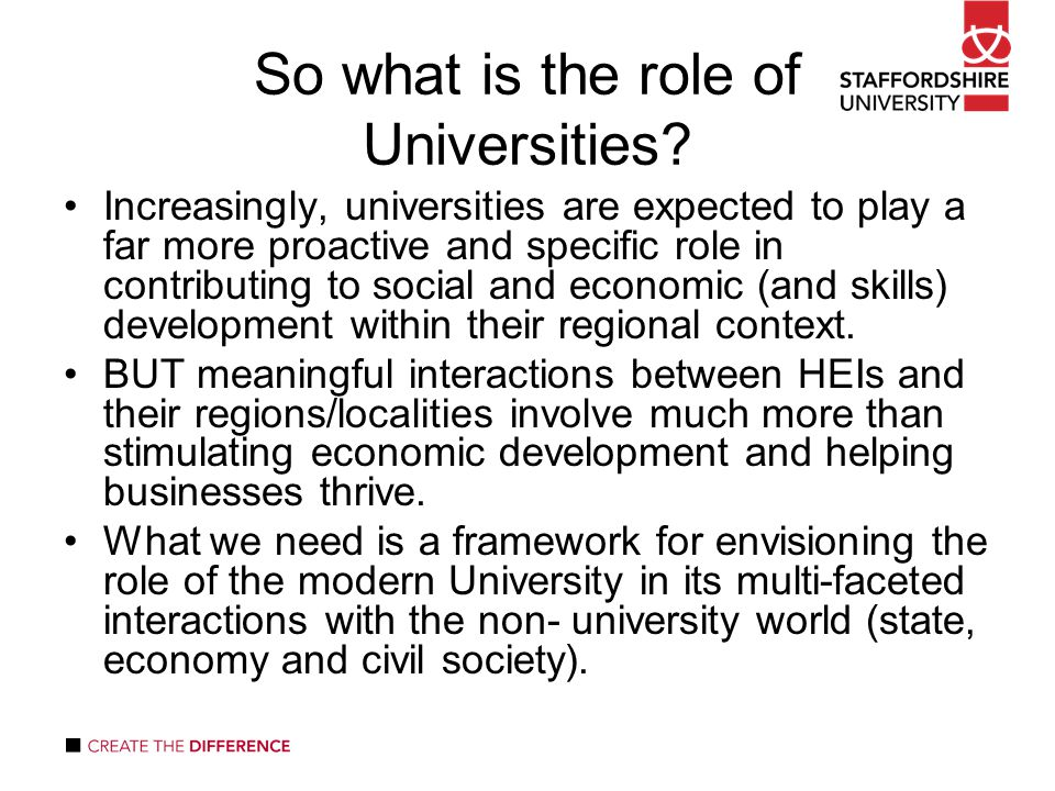 So what is the role of Universities.