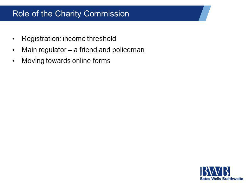 Role of the Charity Commission Registration: income threshold Main regulator – a friend and policeman Moving towards online forms