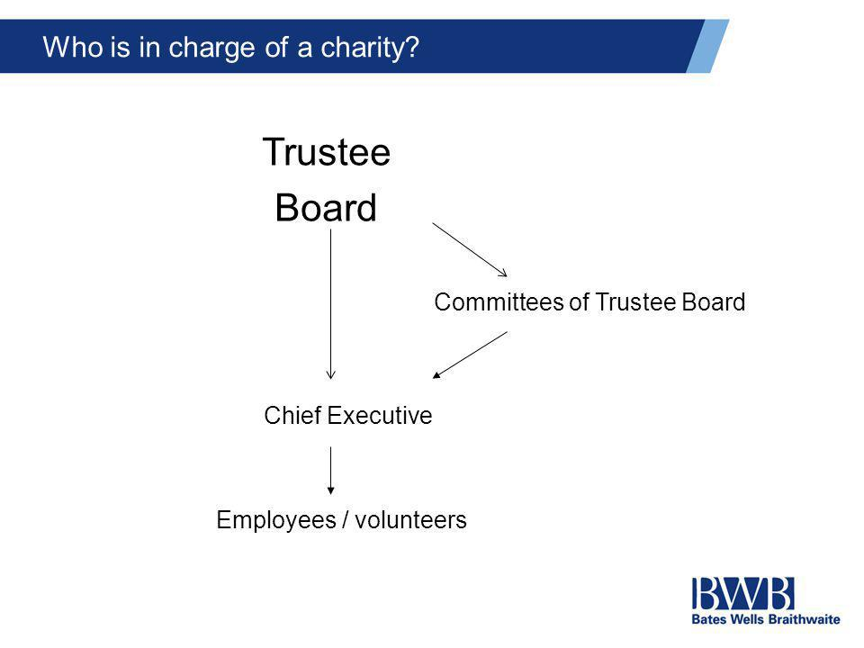 Who is in charge of a charity? Trustee Board Chief Executive Employees / volunteers Committees of Trustee Board